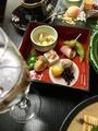 料理メニュー写真懐石コースの最初の先付け。