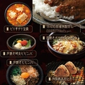 料理メニュー写真ピリ辛チゲ豆腐/石焼明太ビビンバ/石焼ビビンバ/石焼チーズビビンバ/特製焼きおにぎり