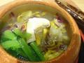 料理メニュー写真土瓶蒸し 浜名湖天然うなぎ、国産松茸、柿の器、登り窯の壺