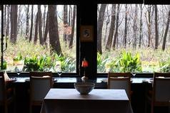 カウンター席は森に面して大きな窓があるので、店内にいながらにして四季折々の自然を楽しむことができます。