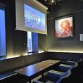 プロジェクター&大型スクリーン完備。各種2次会、大人数でのパーティーも対応可能です