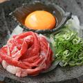 料理メニュー写真黒毛和牛の炙りユッケ