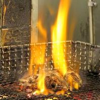 旨味たっぷりの健味鶏を炭火で豪快に焼きあげました!