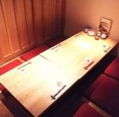 ふすまの扉で仕切られた掘りごたつ席は予約人気No.1。ゆったりとお客様だけの空間でお食事を楽しむことができます。