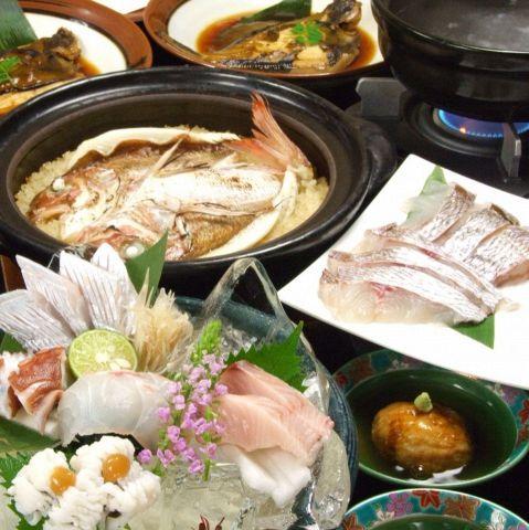 全10品、宴会一番人気/鮮魚5種造り盛・天然鯛飯付『明石コース』3800円(税抜)※飲放別途追加