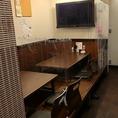 コロナ感染対策として、テーブルの間にビニールを設置しています!お客様との距離を空け、感染対策をしております。