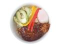料理メニュー写真赤牛ハンバーグのロコモコ丼