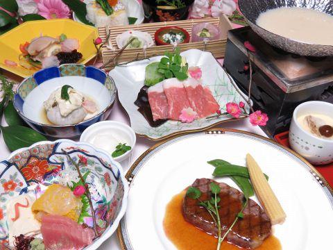 【牛リブロースステーキ・豚豆乳鍋等】会席コース120分[飲放]付6500円(税込)
