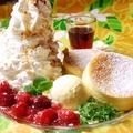 料理メニュー写真ハワイアンリコッタパンケーキ アイスのせ