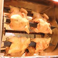目の前で焼き上げるロティサリーチキンは格別