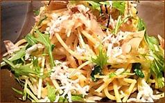 水菜とじゃこの和風スパゲティー