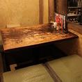 3名様~ご利用可能な掘り炬燵席です。小上がりで伸び伸びとリラックスして各お料理と沖縄の風情をお楽しみいただけます。