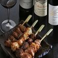 ※焼鳥とワインのマリアージュ  種類豊富な日本酒や焼酎、焼鳥に合う国内産ワインを片手にお洒落に過ごす贅沢な時間をご提供します。