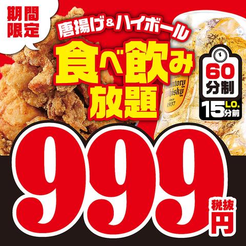 ≪3種類の唐揚げ+ハイボール食べ飲み放題≫【999円(税抜)〜】