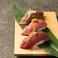 肉寿司3貫盛り(牛、馬赤身、牛タン炙り)