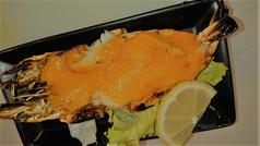 ウシエビのウニ焼(Shrimp covered in sea urchin)