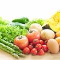 新鮮お野菜♪契約農家直送の有機野菜!季節野菜の温玉シーザーサラダ、新鮮大根サラダなど女性に人気のお野菜メニュー多数♪