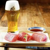 【本まぐろと味わう】お刺身には日本酒と合わせるのが一般的ですが、当店にご来店された際には、エビスビールとお試しください。爽やかな香りにクリーミーな泡、ふくよかな味わいに、ビールと鮮魚の新しい可能性を発見していただけるはずです。
