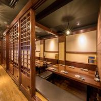 例えばこちら2~12名様個室。新橋駅すぐの和風空間