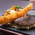 料理メニュー写真ハンバーグと特大エビフライ(S:130g)