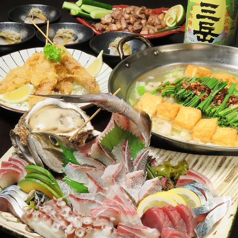 鶏出汁スープで作るモツ鍋とおでん、活き締めのゴマさば等の郷土料理をご堪能下さい!