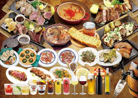 厳選肉の盛り合わせプレートと創作イタリアン系メニューやタパス料理が豊富