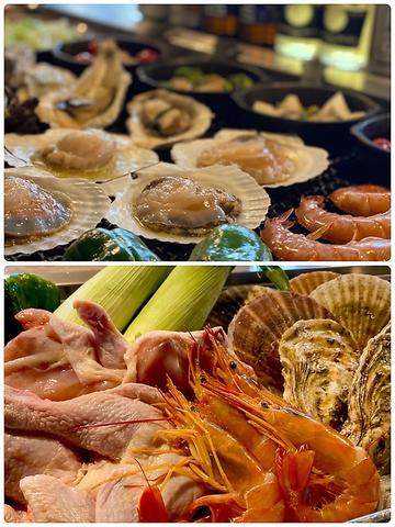 海鮮を中心に、人気のばべこ焼きやアヒージョも楽しめる全11品の海の家コース