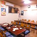30名まで座れるお座敷個室。足をくずしてゆったりご飲食を楽しめます。この季節には歓送迎会などの会社宴会にもおすすめ★大人数の宴会に最適のお部屋です!