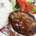 料理メニュー写真ハンバーグディッシュ(ライス・サラダ付)