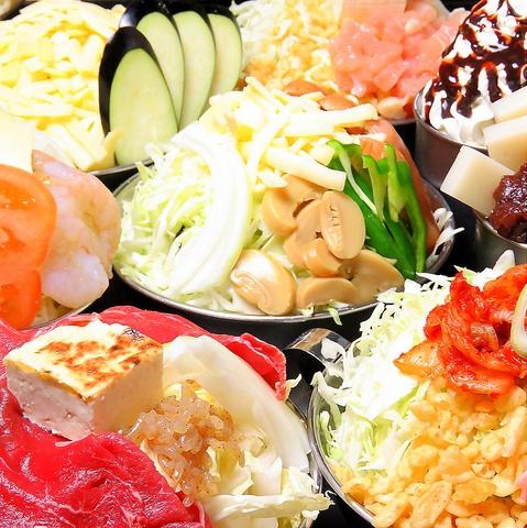 約40種(もんじゃ等)120分[食放]&27種ドリンクバー付コース2420円デザート含♪