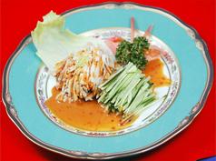 蒸鶏の冷菜/蒸鶏のピリカラごま和え/ピータン