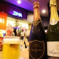 シャンパン、ワインなどドリンク種類も豊富♪迷ったらスタッフにお気軽にお尋ねください!