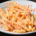 料理メニュー写真ぱりぱり鶏皮チップス・明太マヨフライドポテト・するめの天ぷら・揚げ出し豆腐