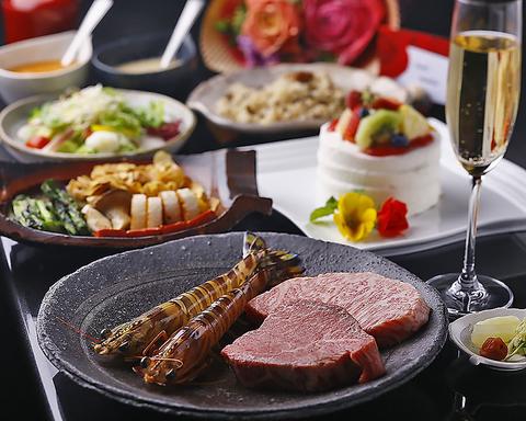 A5ランク特選黒毛和牛に新鮮な魚介類。最高の食材をシェフが熟練の技で焼き上げます!