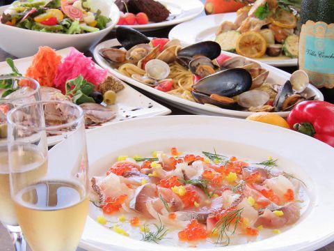 ヘルシー野菜多め、人気のカルパッチョ盛、肉などボリューム有りな120分飲放付 4000円→2980円
