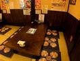 小上がりのお座敷席はご要望によって、2名様から14名様まで様々にカスタマイズ可能。
