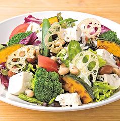 こだわり豆腐の緑黄色健康サラダ (胡麻味噌ドレ)