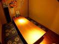落ち着ける雰囲気の個室席。会社宴会やご家族でのご利用も。