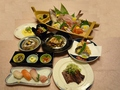 料理メニュー写真舟盛り付会席    高瀬川コース   (全8品飲み放題付)