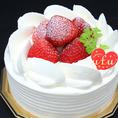 【アニバーサリーコースの選べるケーキ】苺のショートケーキ(12cm)…甘さ控えめで、ふっくら軽い口当たりです。