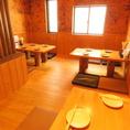 座敷は2F奥にご用意☆ほっこりする木目調のテーブルとなっております。