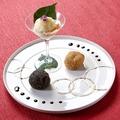 料理メニュー写真白味噌カスタードの利休揚げ バニラアイス添え