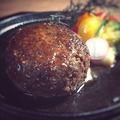 料理メニュー写真手作りハンバーグステーキ200g