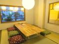 たたみのお座敷半個室がございます!隣のお席とはすだれで区切ってあります!久留米の自然が感じられる風景を見ながらごゆるりとお過ごしください!