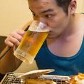 浜焼きとビール・・・うまい!!