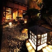 中庭に面する宴会個室