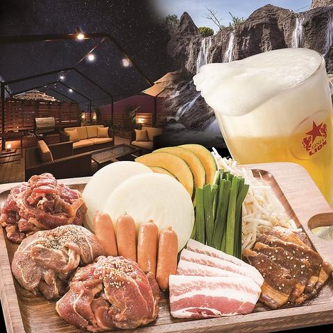 東武宇都宮百貨店屋上。300席の開放的なビアガーデンで楽しむBBQ♪6種ビールも飲放!