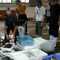岡崎魚市場での仕入れ