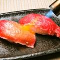 料理メニュー写真黒毛和牛の炙り肉寿司(2貫)