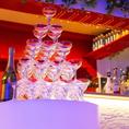 気軽に豪華にサプライズ!準備いらずでお店にお任せシャンパンタワー。シャンパンの種類によって料金は異なるが、シャンパン3本&タワー利用が基本セット☆